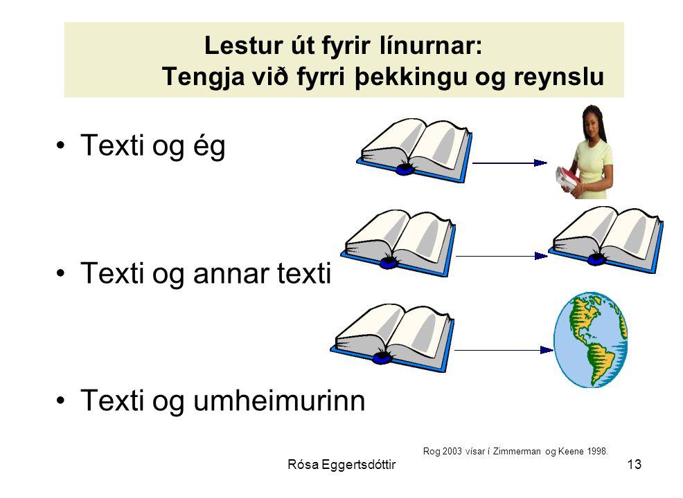 Rósa Eggertsdóttir13 Lestur út fyrir línurnar: Tengja við fyrri þekkingu og reynslu Texti og ég Texti og annar texti Texti og umheimurinn Rog 2003 vísar í Zimmerman og Keene 1998.