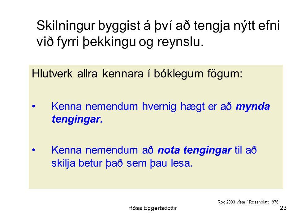 Rósa Eggertsdóttir23 Skilningur byggist á því að tengja nýtt efni við fyrri þekkingu og reynslu.
