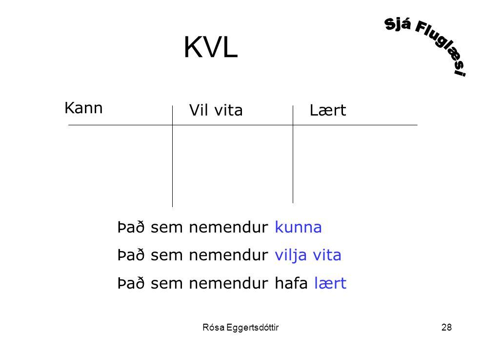 Rósa Eggertsdóttir28 KVL Kann Vil vitaLært Það sem nemendur kunna Það sem nemendur vilja vita Það sem nemendur hafa lært