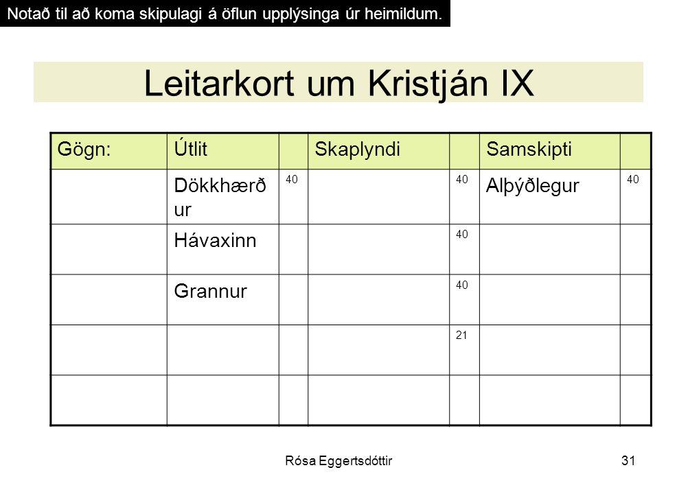 Rósa Eggertsdóttir31 Leitarkort um Kristján IX Gögn:ÚtlitSkaplyndiSamskipti Dökkhærð ur 40 Alþýðlegur 40 Hávaxinn 40 Grannur 40 21 Notað til að koma skipulagi á öflun upplýsinga úr heimildum.