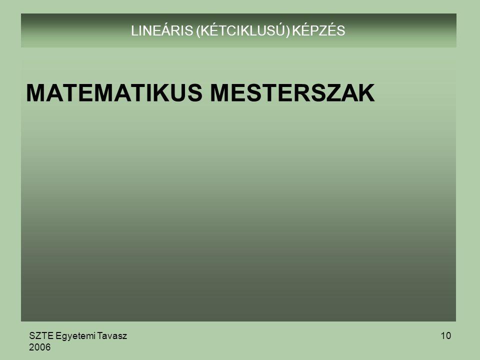 SZTE Egyetemi Tavasz 2006 10 LINEÁRIS (KÉTCIKLUSÚ) KÉPZÉS MATEMATIKUS MESTERSZAK