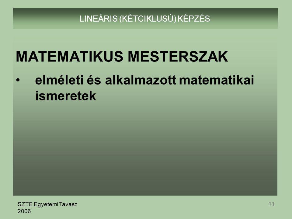 SZTE Egyetemi Tavasz 2006 11 LINEÁRIS (KÉTCIKLUSÚ) KÉPZÉS MATEMATIKUS MESTERSZAK elméleti és alkalmazott matematikai ismeretek