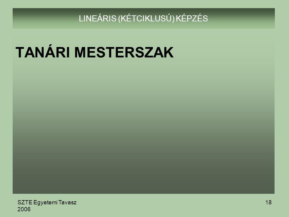 SZTE Egyetemi Tavasz 2006 18 LINEÁRIS (KÉTCIKLUSÚ) KÉPZÉS TANÁRI MESTERSZAK