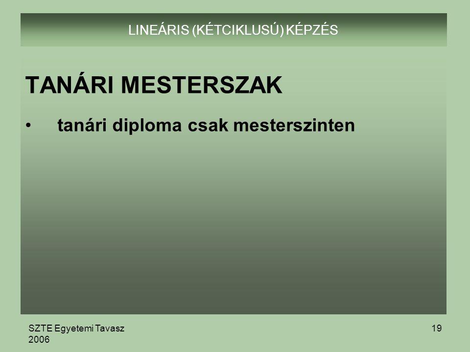 SZTE Egyetemi Tavasz 2006 19 LINEÁRIS (KÉTCIKLUSÚ) KÉPZÉS TANÁRI MESTERSZAK tanári diploma csak mesterszinten