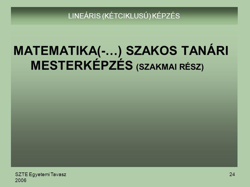 SZTE Egyetemi Tavasz 2006 24 LINEÁRIS (KÉTCIKLUSÚ) KÉPZÉS MATEMATIKA(-…) SZAKOS TANÁRI MESTERKÉPZÉS (SZAKMAI RÉSZ)