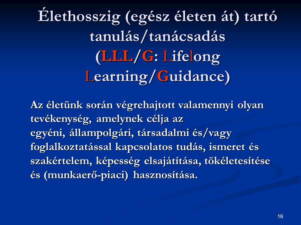 16 Élethosszig (egész életen át) tartó tanulás/tanácsadás (LLL/G: Lifelong Learning/Guidance) Az életünk során végrehajtott valamennyi olyan tevékenység, amelynek célja az egyéni, állampolgári, társadalmi és/vagy foglalkoztatással kapcsolatos tudás, ismeret és szakértelem, képesség elsajátítása, tökéletesítése és (munkaerő-piaci) hasznosítása.