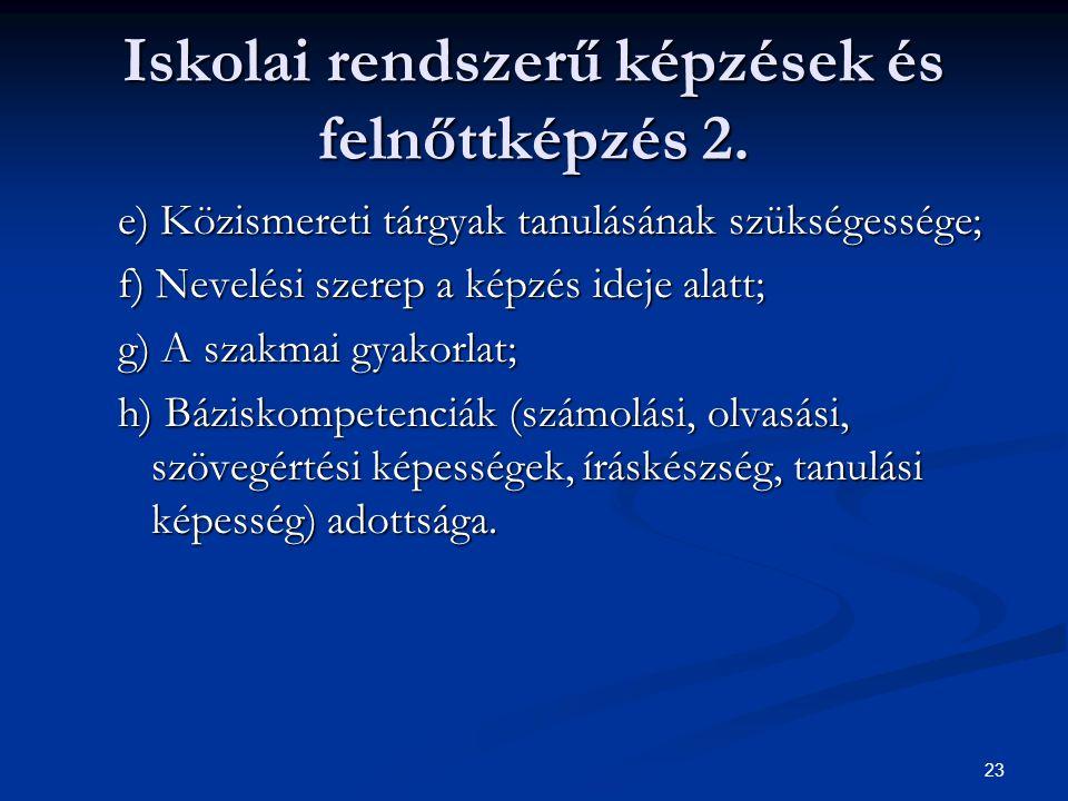 23 Iskolai rendszerű képzések és felnőttképzés 2. e) Közismereti tárgyak tanulásának szükségessége; f) Nevelési szerep a képzés ideje alatt; g) A szak