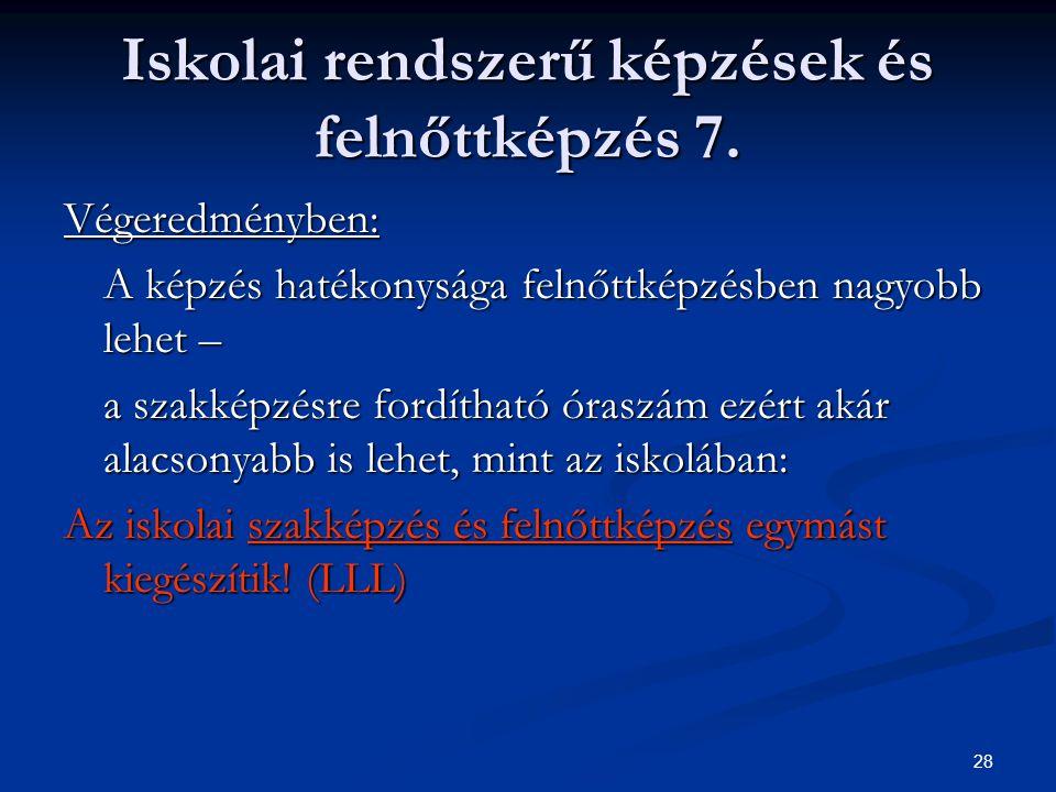 28 Iskolai rendszerű képzések és felnőttképzés 7.