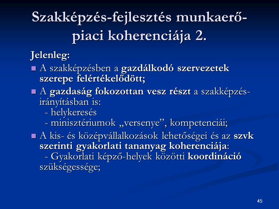 45 Szakképzés-fejlesztés munkaerő- piaci koherenciája 2. Jelenleg: A szakképzésben a gazdálkodó szervezetek szerepe felértékelődött; A szakképzésben a