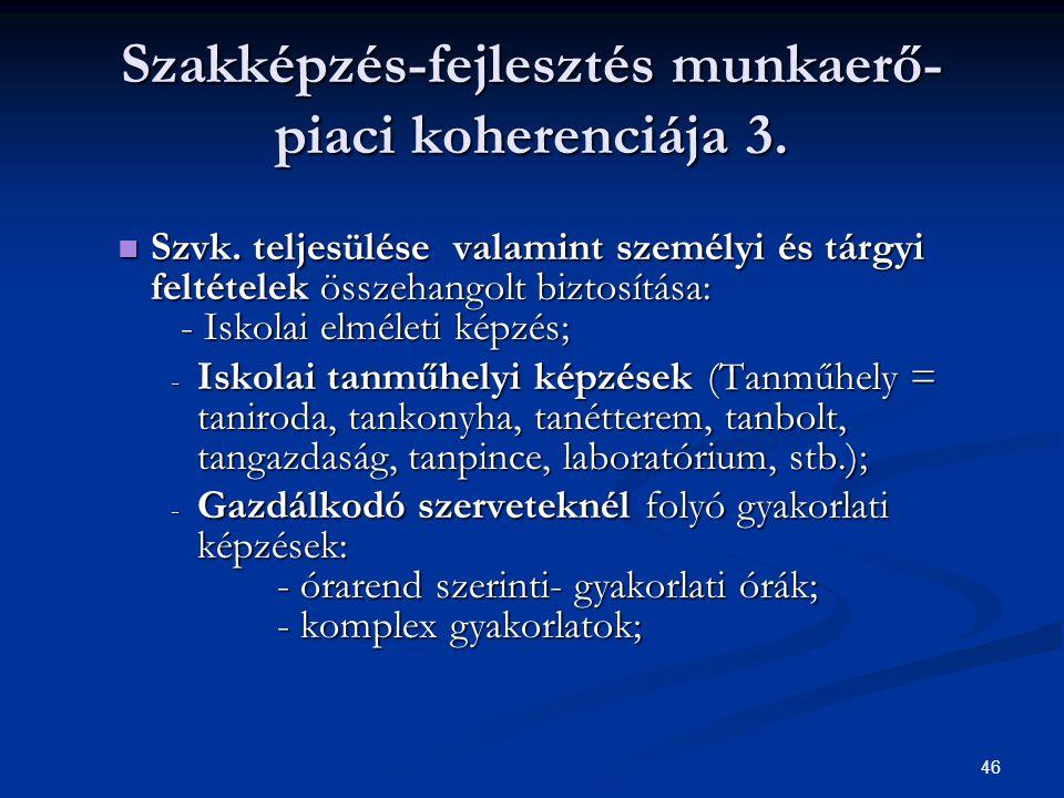 46 Szakképzés-fejlesztés munkaerő- piaci koherenciája 3. Szvk. teljesülése valamint személyi és tárgyi feltételek összehangolt biztosítása: - Iskolai