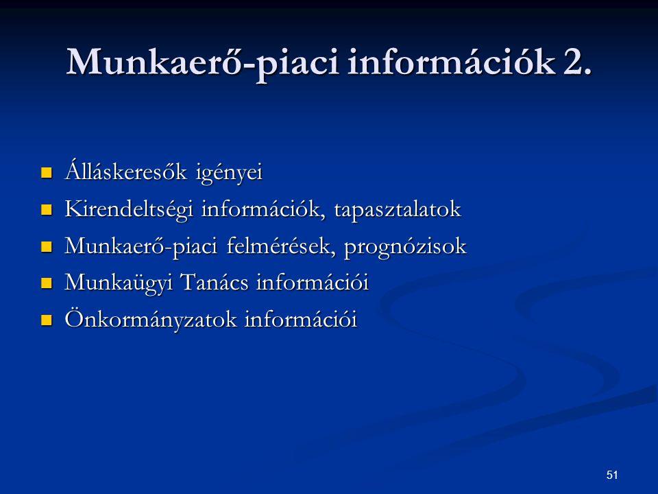 51 Munkaerő-piaci információk 2. Álláskeresők igényei Álláskeresők igényei Kirendeltségi információk, tapasztalatok Kirendeltségi információk, tapaszt