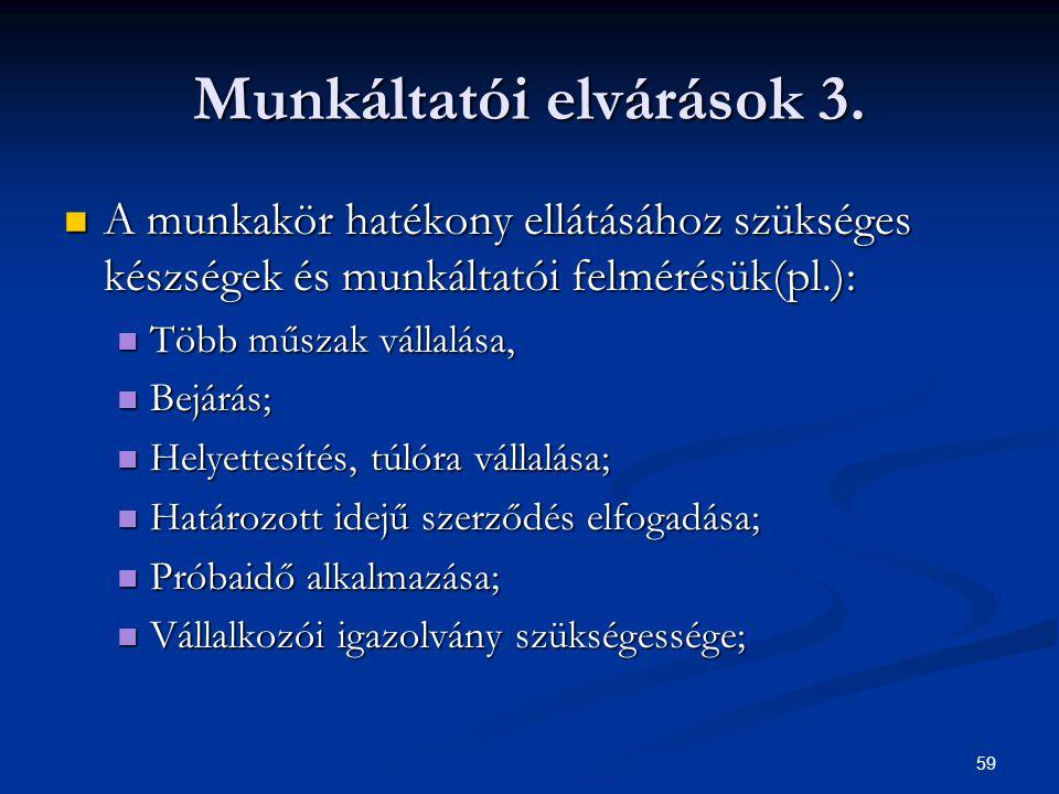 59 Munkáltatói elvárások 3. A munkakör hatékony ellátásához szükséges készségek és munkáltatói felmérésük(pl.): A munkakör hatékony ellátásához szüksé
