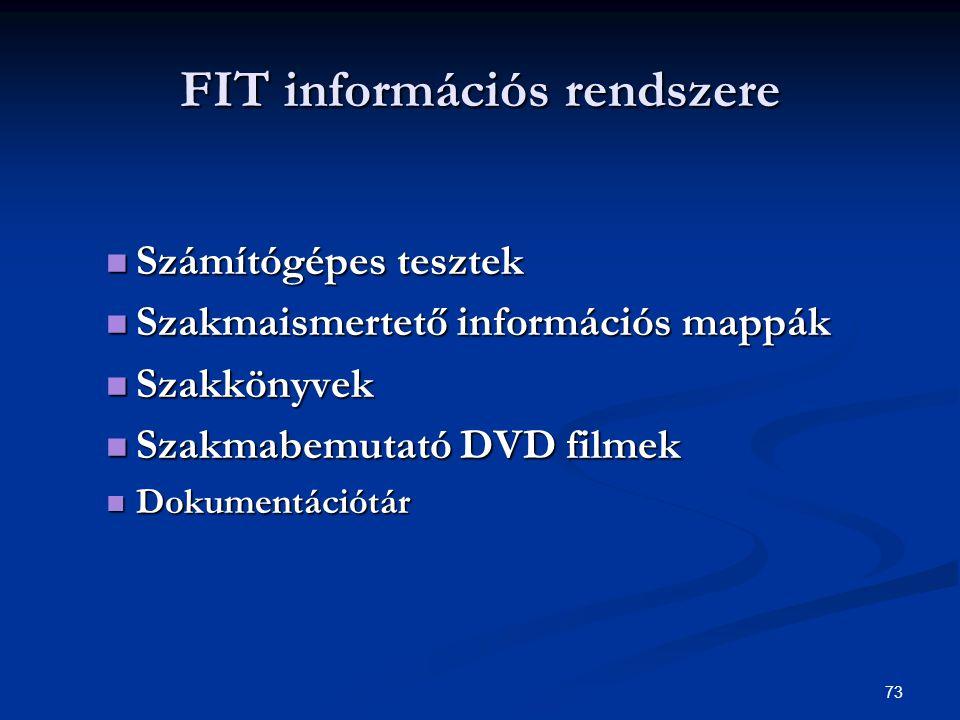 73 FIT információs rendszere Számítógépes tesztek Számítógépes tesztek Szakmaismertető információs mappák Szakmaismertető információs mappák Szakkönyvek Szakkönyvek Szakmabemutató DVD filmek Szakmabemutató DVD filmek Dokumentációtár Dokumentációtár