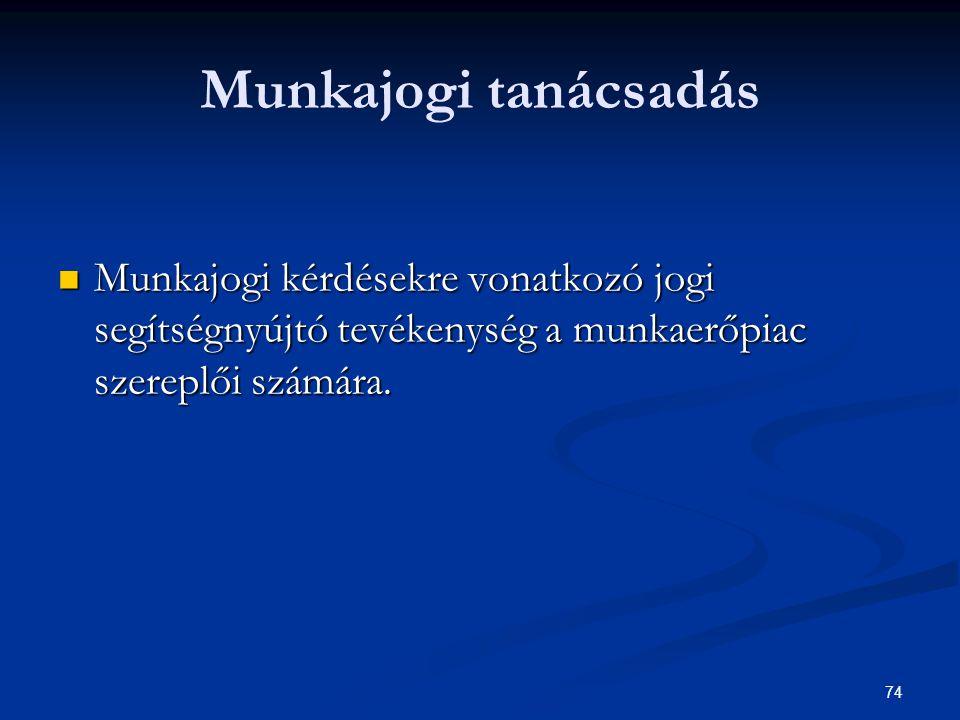 74 Munkajogi tanácsadás Munkajogi kérdésekre vonatkozó jogi segítségnyújtó tevékenység a munkaerőpiac szereplői számára. Munkajogi kérdésekre vonatkoz