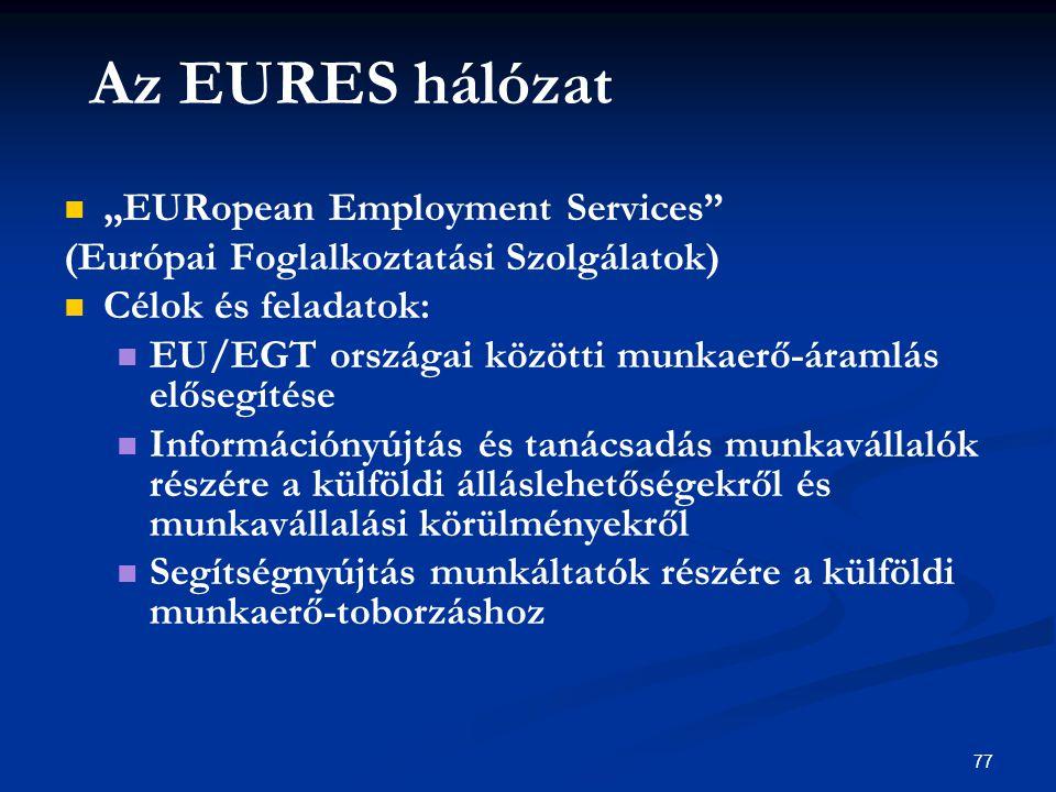 """77 Az EURES hálózat """"EURopean Employment Services (Európai Foglalkoztatási Szolgálatok) Célok és feladatok: EU/EGT országai közötti munkaerő-áramlás elősegítése Információnyújtás és tanácsadás munkavállalók részére a külföldi álláslehetőségekről és munkavállalási körülményekről Segítségnyújtás munkáltatók részére a külföldi munkaerő-toborzáshoz"""