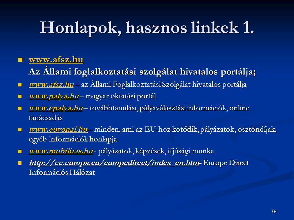 78 Honlapok, hasznos linkek 1. www.afsz.hu Az Állami foglalkoztatási szolgálat hivatalos portálja; www.afsz.hu Az Állami foglalkoztatási szolgálat hiv
