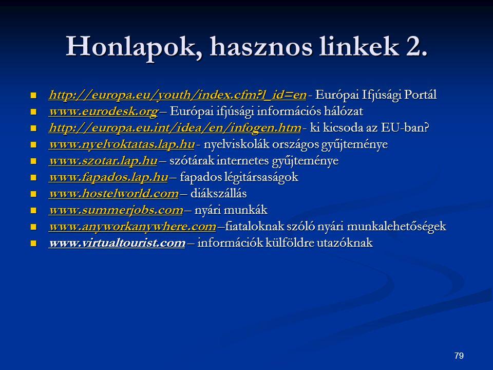 79 Honlapok, hasznos linkek 2. http://europa.eu/youth/index.cfm?l_id=en - Európai Ifjúsági Portál http://europa.eu/youth/index.cfm?l_id=en - Európai I