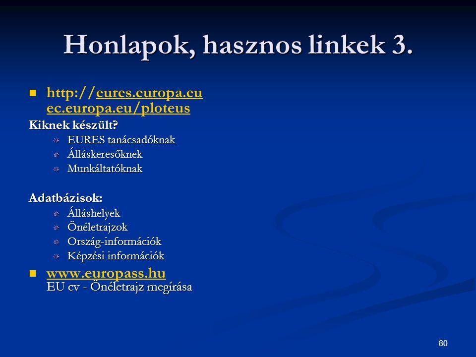 80 Honlapok, hasznos linkek 3. http://eures.europa.eu ec.europa.eu/ploteuseures.europa.eu ec.europa.eu/ploteus Kiknek készült?  EURES tanácsadóknak 