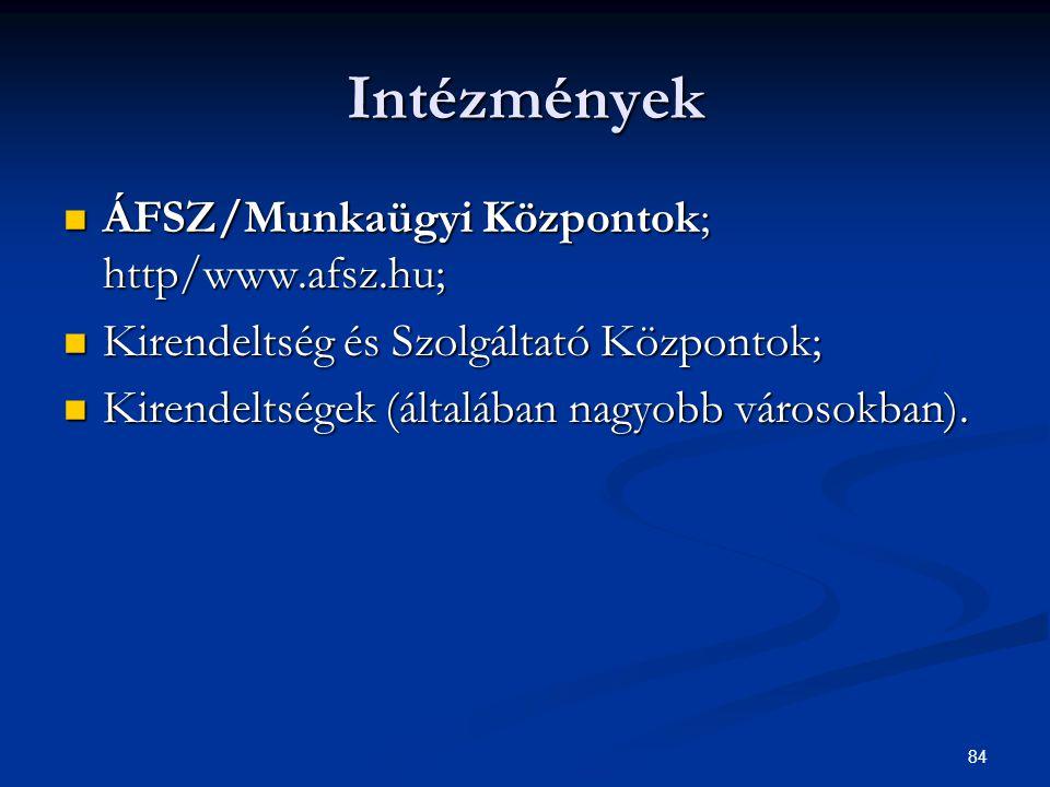 84 Intézmények ÁFSZ/Munkaügyi Központok; http/www.afsz.hu; ÁFSZ/Munkaügyi Központok; http/www.afsz.hu; Kirendeltség és Szolgáltató Központok; Kirendel