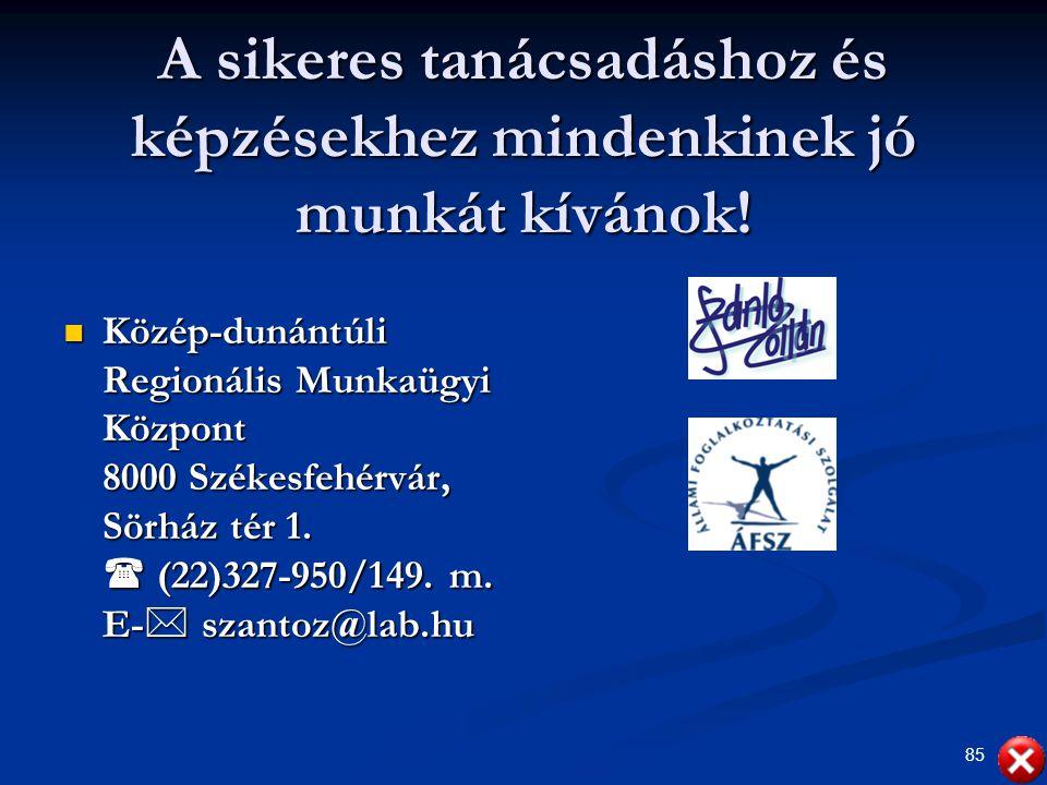 85 A sikeres tanácsadáshoz és képzésekhez mindenkinek jó munkát kívánok! Közép-dunántúli Regionális Munkaügyi Központ 8000 Székesfehérvár, Sörház tér