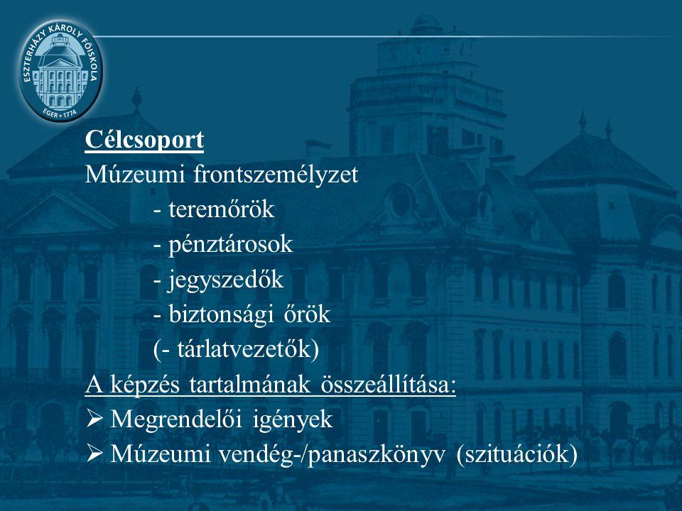 Célcsoport Múzeumi frontszemélyzet - teremőrök - pénztárosok - jegyszedők - biztonsági őrök (- tárlatvezetők) A képzés tartalmának összeállítása:  Me