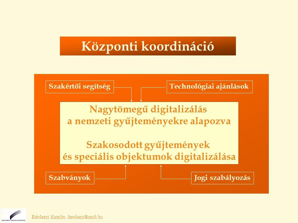 Bánkeszi Katalin, bankeszi@oszk.hu Nagytömegű digitalizálás a nemzeti gyűjteményekre alapozva Szakosodott gyűjtemények és speciális objektumok digitalizálása Szakértői segítség Jogi szabályozás Technológiai ajánlások Szabványok Központi koordináció