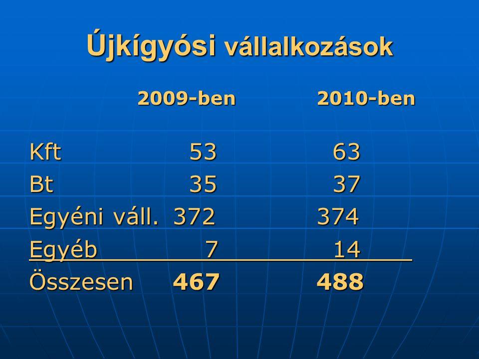 Újkígyósi vállalkozások 2009-ben2010-ben Kft 53 63 Bt 35 37 Egyéni váll.372374 Egyéb 7 14 Összesen467488