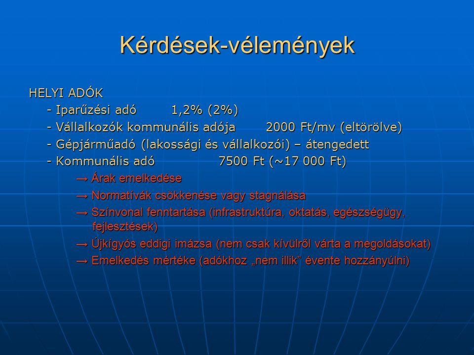 """Kérdések-vélemények HELYI ADÓK - Iparűzési adó 1,2% (2%) - Vállalkozók kommunális adója2000 Ft/mv (eltörölve) - Gépjárműadó (lakossági és vállalkozói) – átengedett - Kommunális adó7500 Ft (~17 000 Ft) → Árak emelkedése → Normatívák csökkenése vagy stagnálása → Színvonal fenntartása (infrastruktúra, oktatás, egészségügy, fejlesztések) → Újkígyós eddigi imázsa (nem csak kívülről várta a megoldásokat) → Emelkedés mértéke (adókhoz """"nem illik évente hozzányúlni)"""