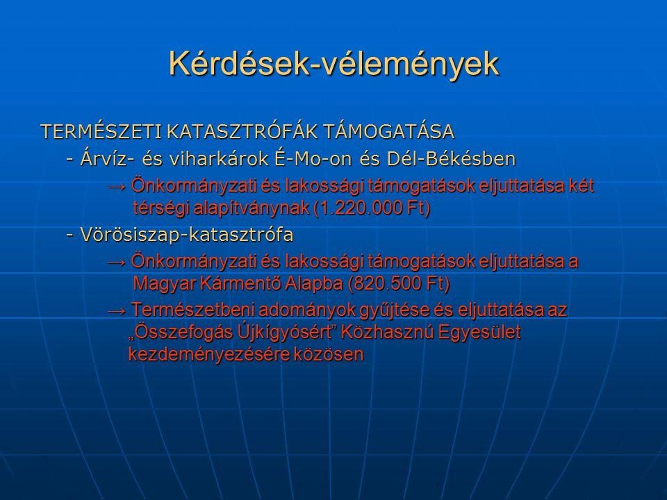 """Kérdések-vélemények TERMÉSZETI KATASZTRÓFÁK TÁMOGATÁSA - Árvíz- és viharkárok É-Mo-on és Dél-Békésben → Önkormányzati és lakossági támogatások eljuttatása két térségi alapítványnak (1.220.000 Ft) - Vörösiszap-katasztrófa → Önkormányzati és lakossági támogatások eljuttatása a Magyar Kármentő Alapba (820.500 Ft) → Természetbeni adományok gyűjtése és eljuttatása az """"Összefogás Újkígyósért Közhasznú Egyesület kezdeményezésére közösen"""