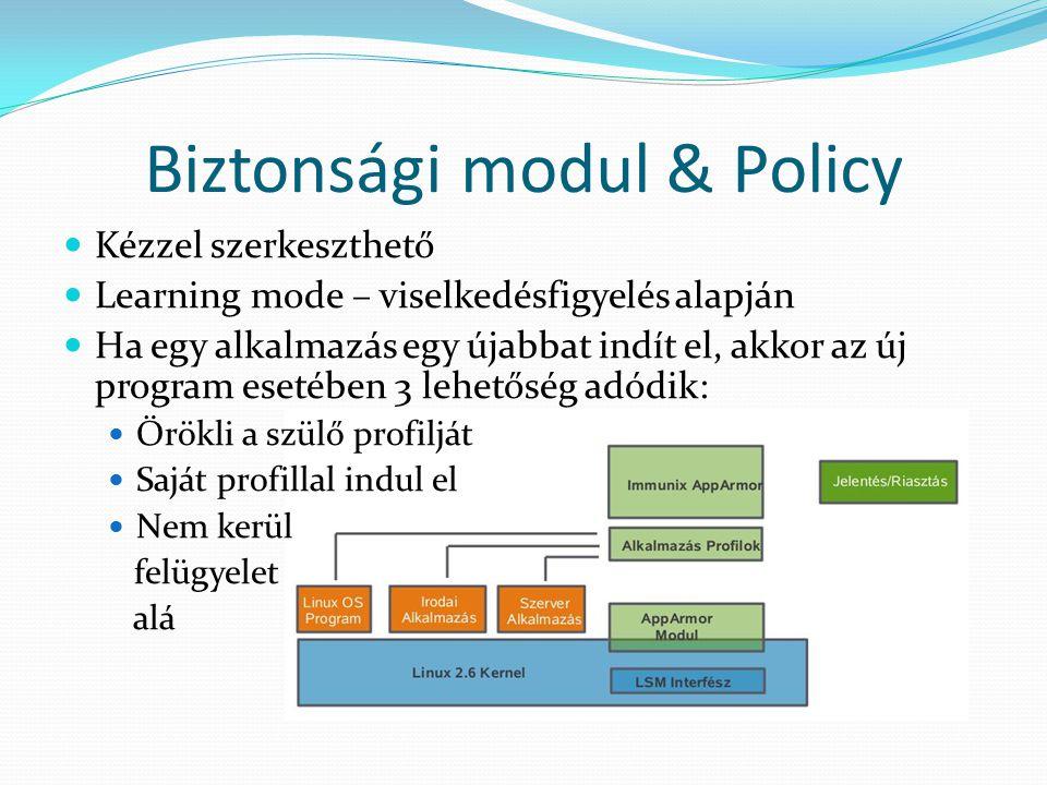 Biztonsági modul & Policy Kézzel szerkeszthető Learning mode – viselkedésfigyelés alapján Ha egy alkalmazás egy újabbat indít el, akkor az új program esetében 3 lehetőség adódik: Örökli a szülő profilját Saját profillal indul el Nem kerül felügyelet alá