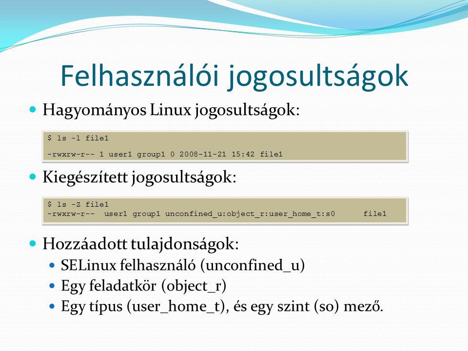 Felhasználói jogosultságok Hagyományos Linux jogosultságok: Kiegészített jogosultságok: Hozzáadott tulajdonságok: SELinux felhasználó (unconfined_u) Egy feladatkör (object_r) Egy típus (user_home_t), és egy szint (s0) mező.