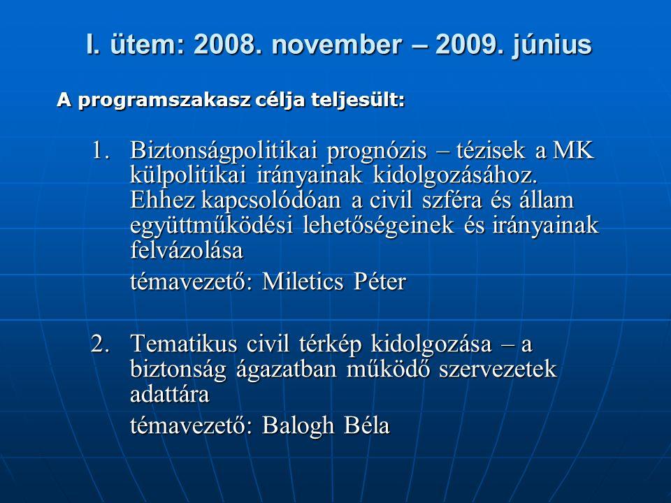 I. ütem: 2008. november – 2009. június I. ütem: 2008. november – 2009. június A programszakasz célja teljesült: 1.Biztonságpolitikai prognózis – tézis