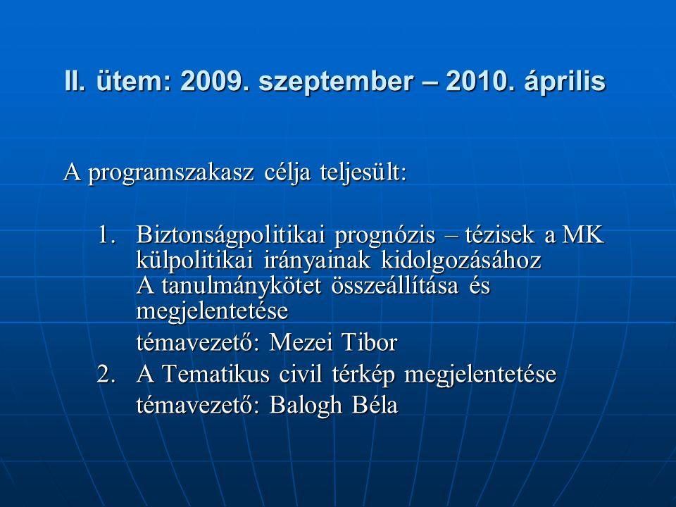 II. ütem: 2009. szeptember – 2010. április II. ütem: 2009. szeptember – 2010. április A programszakasz célja teljesült: 1.Biztonságpolitikai prognózis