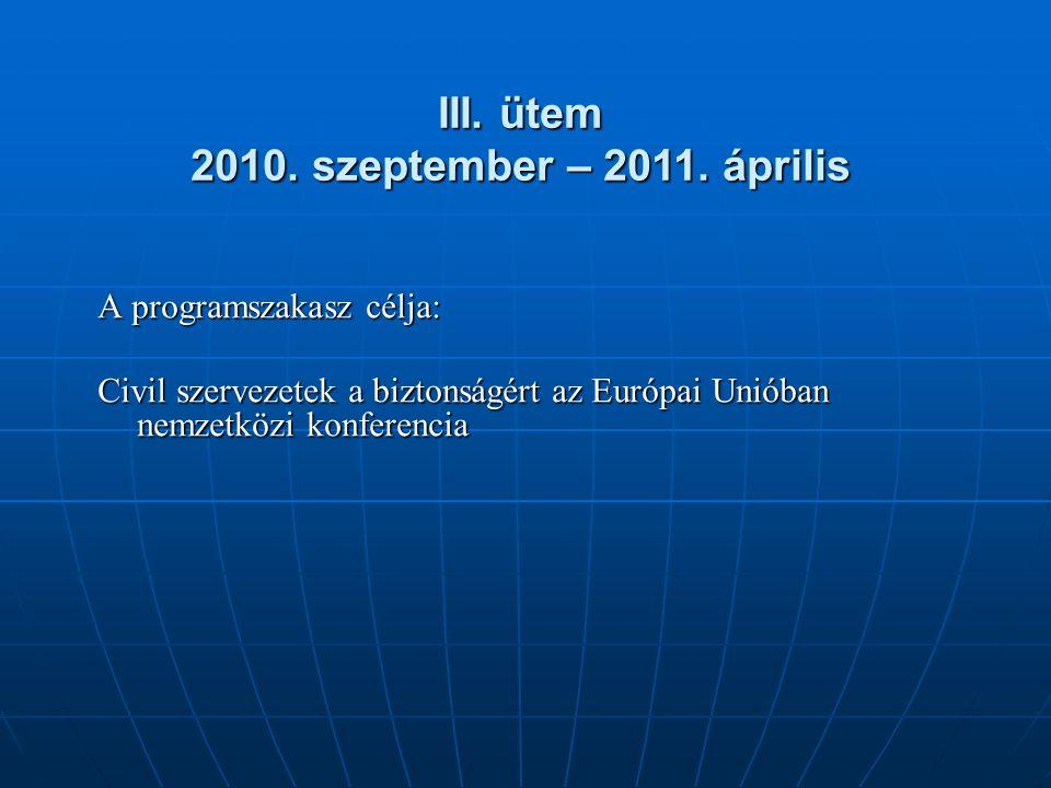 A programszakasz célja: Civil szervezetek a biztonságért az Európai Unióban nemzetközi konferencia III. ütem 2010. szeptember – 2011. április