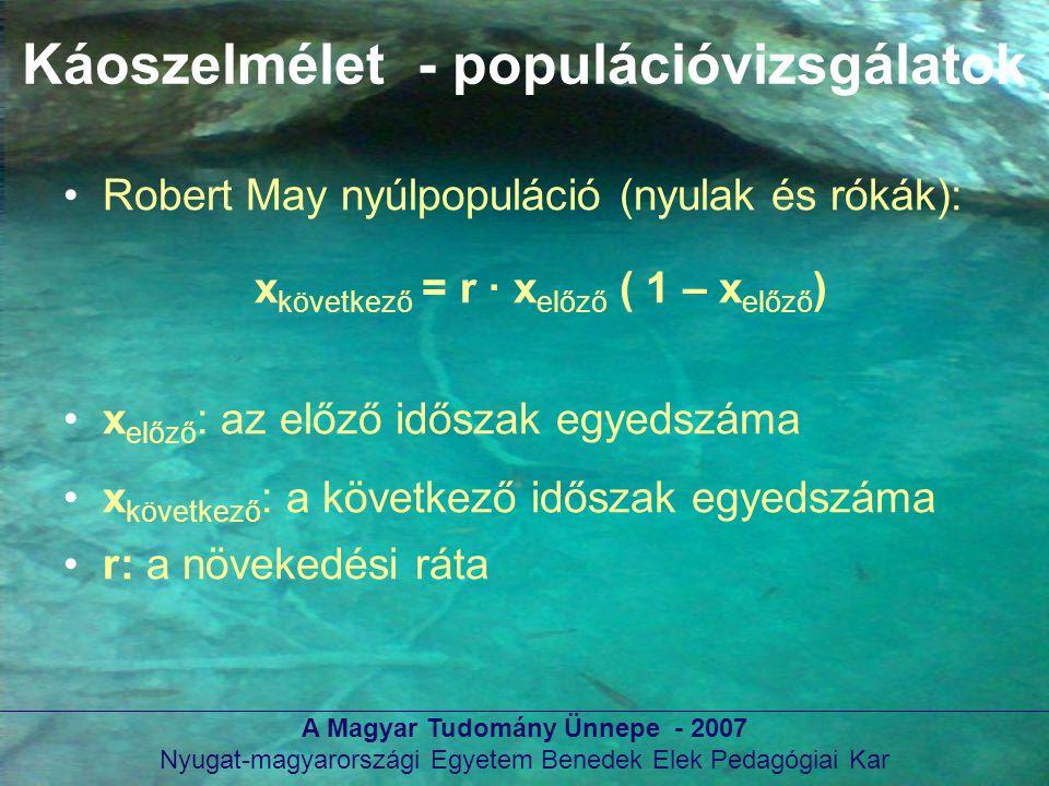 Nyugat-magyarországi Egyetem Benedek Elek Pedagógiai Kar Káoszelmélet - populációvizsgálatok Robert May nyúlpopuláció (nyulak és rókák): x következő =