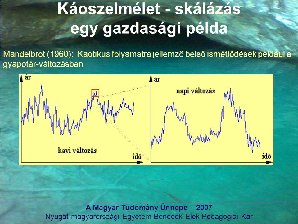 A Magyar Tudomány Ünnepe - 2007 Nyugat-magyarországi Egyetem Benedek Elek Pedagógiai Kar Káoszelmélet - skálázás egy gazdasági példa Mandelbrot (1960)