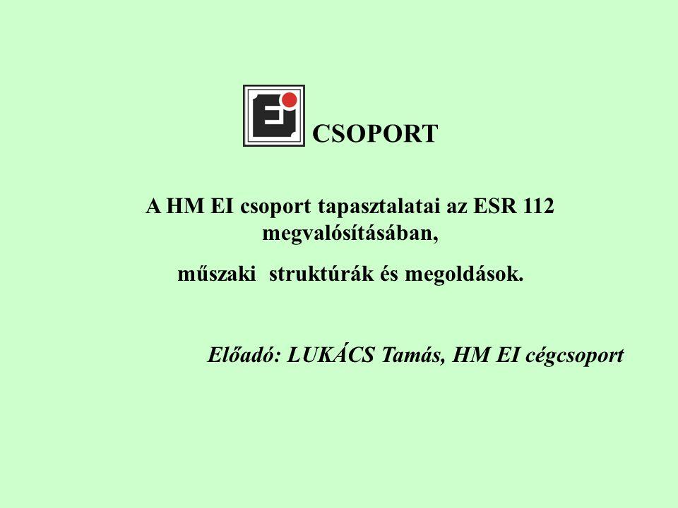 CSOPORT A HM EI csoport tapasztalatai az ESR 112 megvalósításában, műszaki struktúrák és megoldások.