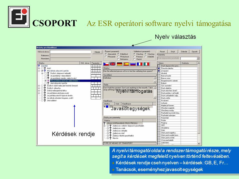 Az ESR operátori software nyelvi támogatása Nyelvi támogatás Kérdések rendje Nyelv választás Javasolt egységek A nyelvi támogatói oldal a rendszer támogatói része, mely segít a kérdések megfelelő nyelven történő feltevésében.