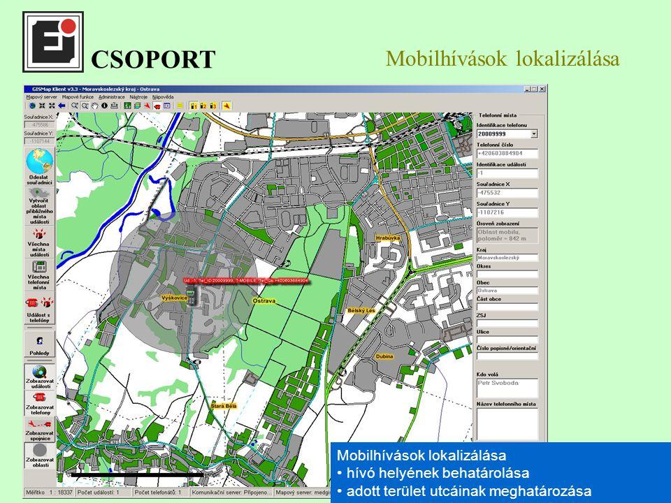 Mobilhívások lokalizálása hívó helyének behatárolása adott terület utcáinak meghatározása Mobilhívások lokalizálása hívó helyének behatárolása adott terület utcáinak meghatározása CSOPORT