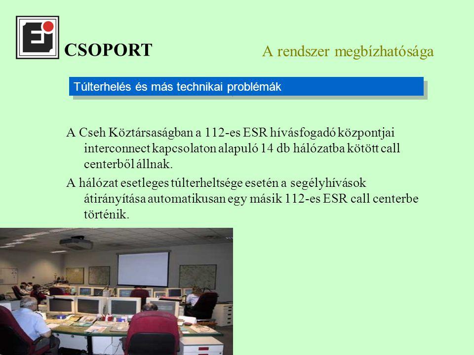 A rendszer megbízhatósága A Cseh Köztársaságban a 112-es ESR hívásfogadó központjai interconnect kapcsolaton alapuló 14 db hálózatba kötött call centerből állnak.