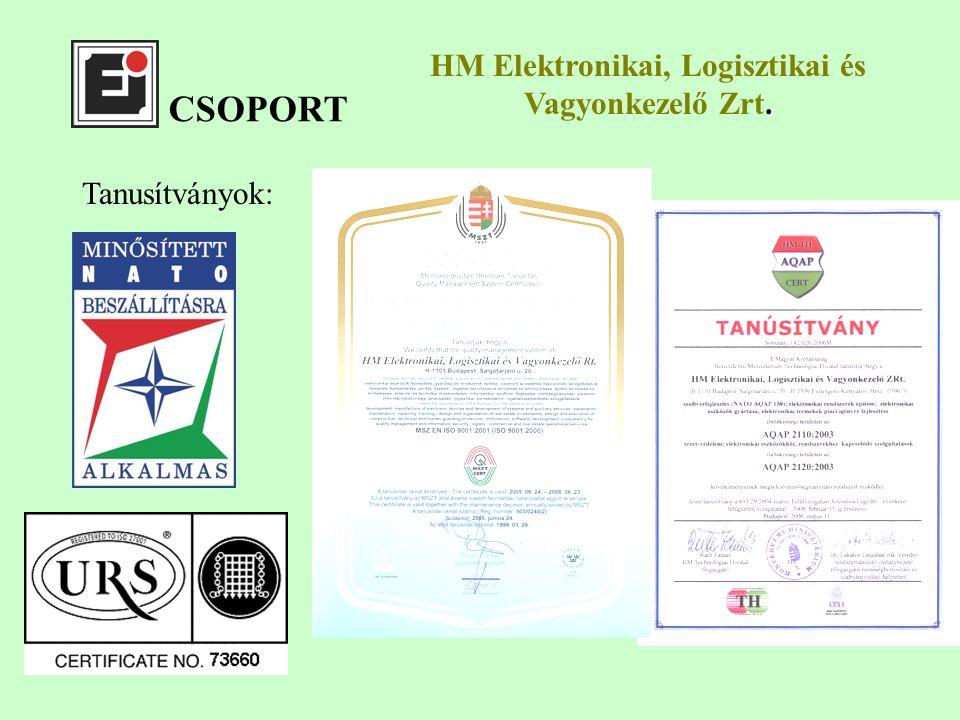 CSOPORT Tanusítványok:. HM Elektronikai, Logisztikai és Vagyonkezelő Zrt.