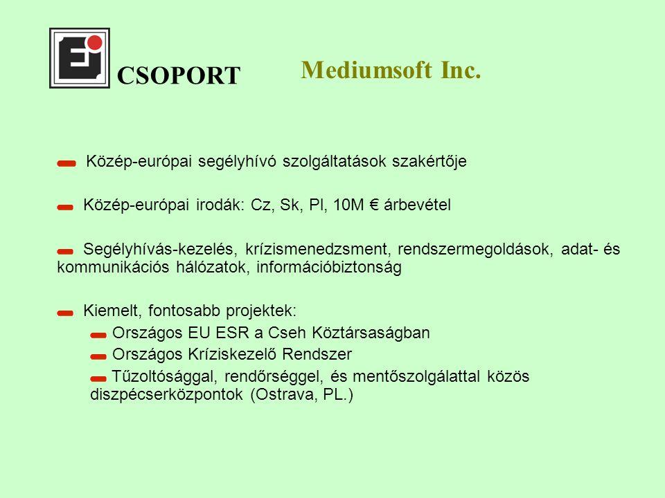 CSOPORT Közép-európai segélyhívó szolgáltatások szakértője Közép-európai irodák: Cz, Sk, Pl, 10M € árbevétel Segélyhívás-kezelés, krízismenedzsment, rendszermegoldások, adat- és kommunikációs hálózatok, információbiztonság Kiemelt, fontosabb projektek: Országos EU ESR a Cseh Köztársaságban Országos Kríziskezelő Rendszer Tűzoltósággal, rendőrséggel, és mentőszolgálattal közös diszpécserközpontok (Ostrava, PL.) Mediumsoft Inc.