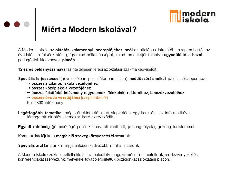 Miért a Modern Iskolával? A Modern Iskola az oktatás valamennyi szereplőjéhez szól az általános iskolától – szeptembertől az óvodától - a felsőoktatás