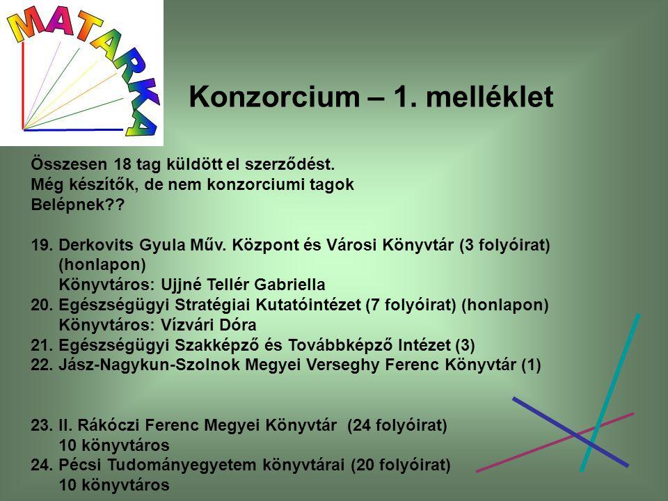 Konzorcium – 1. melléklet Összesen 18 tag küldött el szerződést.