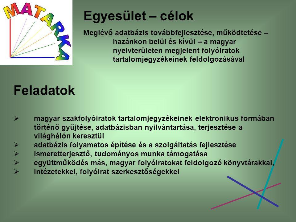 Egyesület – célok Meglévő adatbázis továbbfejlesztése, működtetése – hazánkon belül és kívül – a magyar nyelvterületen megjelent folyóiratok tartalomjegyzékeinek feldolgozásával Feladatok  magyar szakfolyóiratok tartalomjegyzékeinek elektronikus formában történő gyűjtése, adatbázisban nyilvántartása, terjesztése a világhálón keresztül  adatbázis folyamatos építése és a szolgáltatás fejlesztése  ismeretterjesztő, tudományos munka támogatása  együttműködés más, magyar folyóiratokat feldolgozó könyvtárakkal,  intézetekkel, folyóirat szerkesztőségekkel
