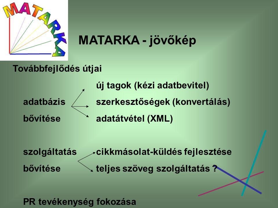 MATARKA - jövőkép Továbbfejlődés útjai új tagok (kézi adatbevitel) adatbázis szerkesztőségek (konvertálás) bővítése adatátvétel (XML) szolgáltatáscikk