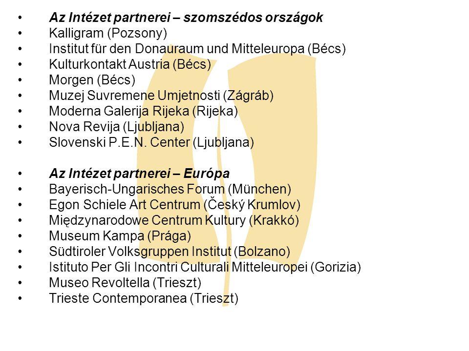 Az Intézet partnerei – szomszédos országok Kalligram (Pozsony) Institut für den Donauraum und Mitteleuropa (Bécs) Kulturkontakt Austria (Bécs) Morgen
