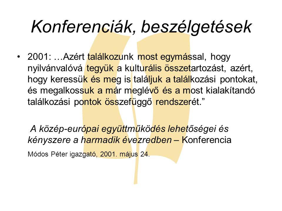 Konferenciák, beszélgetések 2001: …Azért találkozunk most egymással, hogy nyilvánvalóvá tegyük a kulturális összetartozást, azért, hogy keressük és me