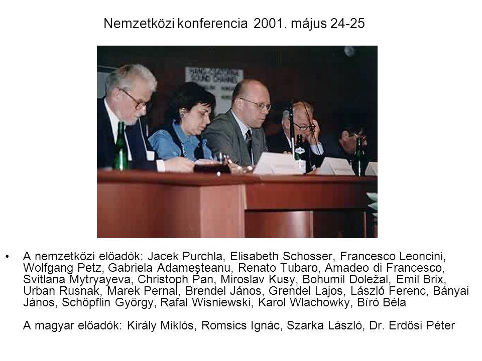 Nemzetközi konferencia 2001. május 24-25 A nemzetközi előadók: Jacek Purchla, Elisabeth Schosser, Francesco Leoncini, Wolfgang Petz, Gabriela Adameşte