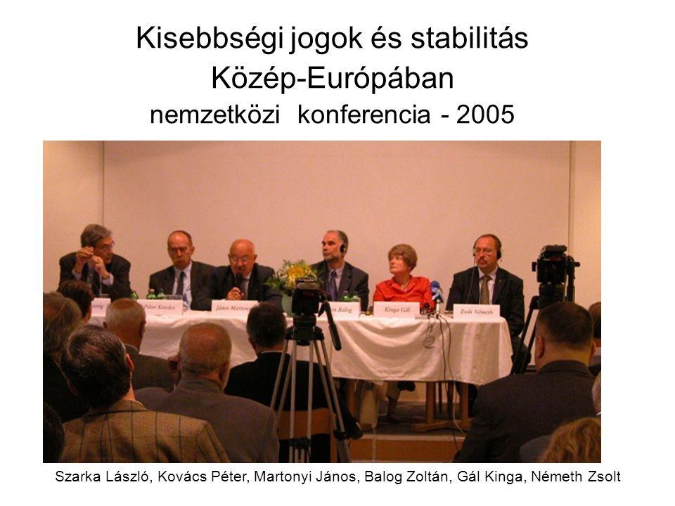 Kisebbségi jogok és stabilitás Közép-Európában nemzetközi konferencia - 2005 Szarka László, Kovács Péter, Martonyi János, Balog Zoltán, Gál Kinga, Ném